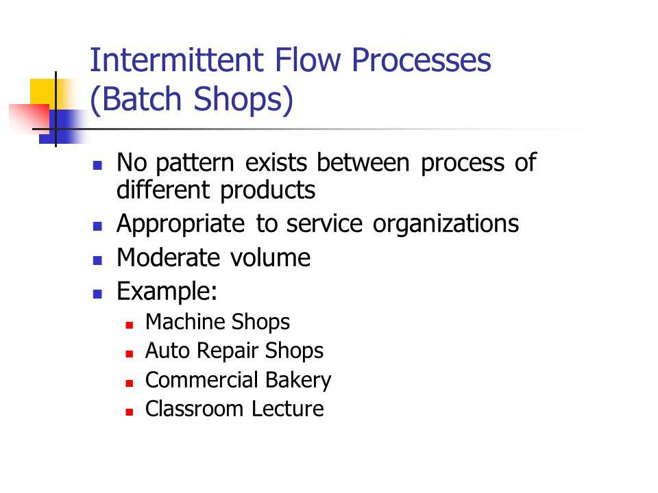Intermittent Flow Processes (Batch Shops)