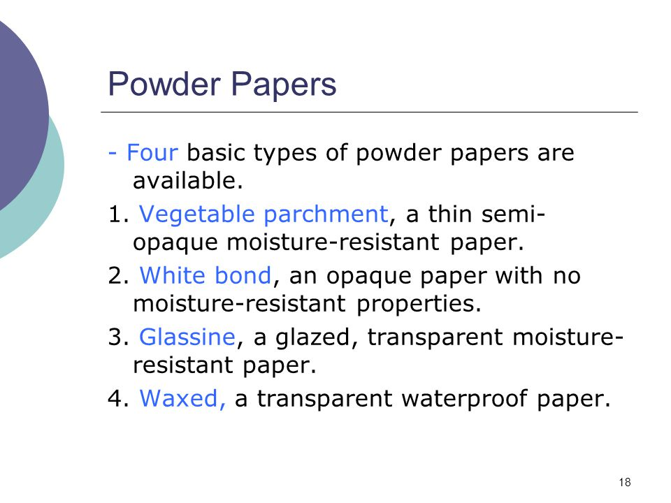 Powder Papers - Four basic types of powder papers are available.