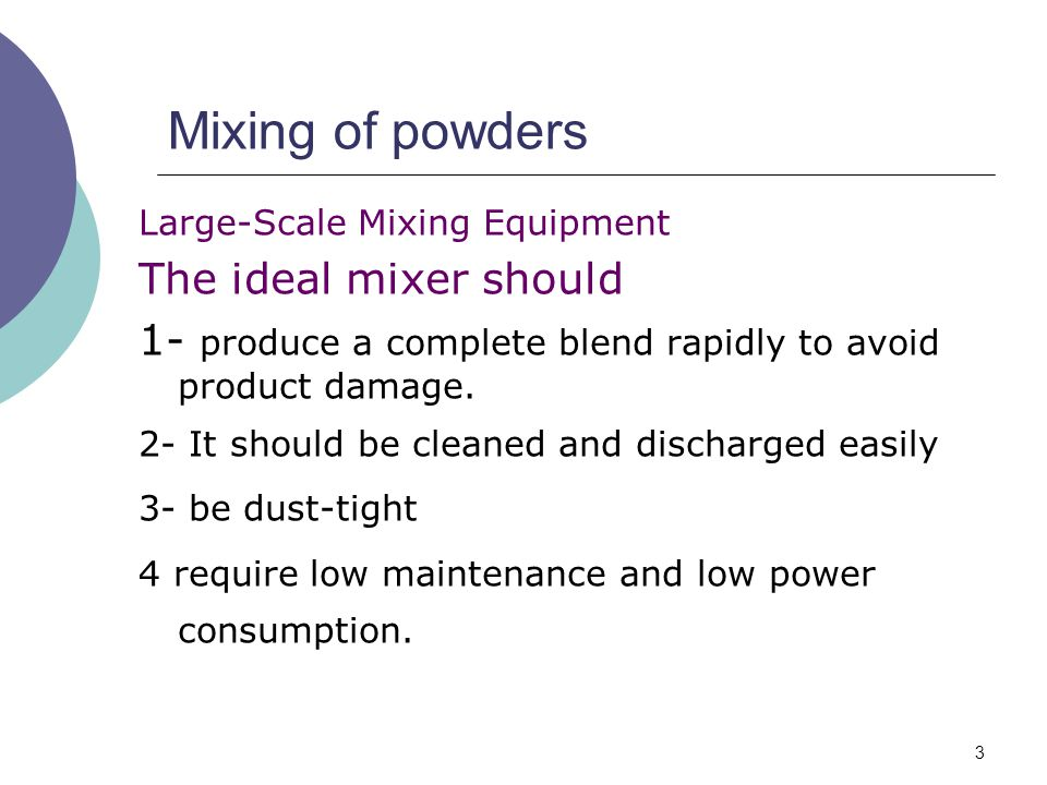 Mixing of powders The ideal mixer should