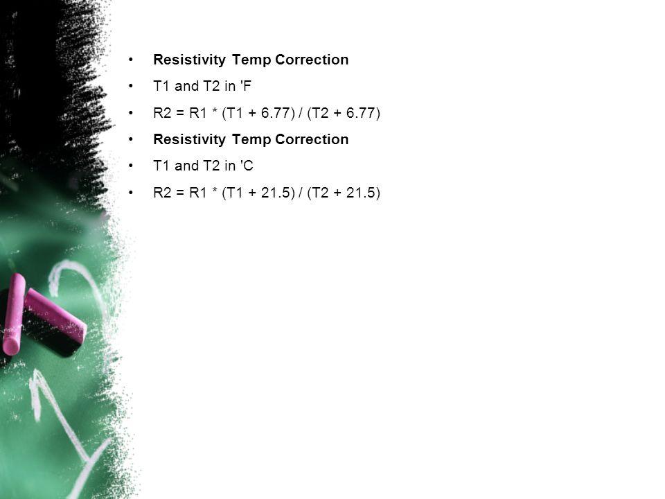 Resistivity Temp Correction