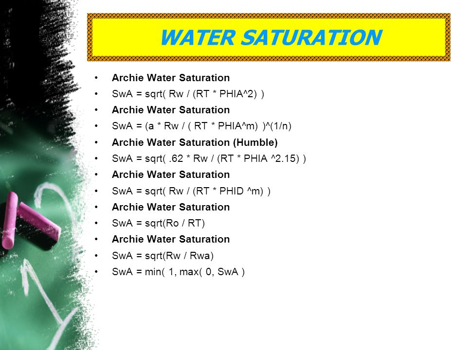 WATER SATURATION Archie Water Saturation