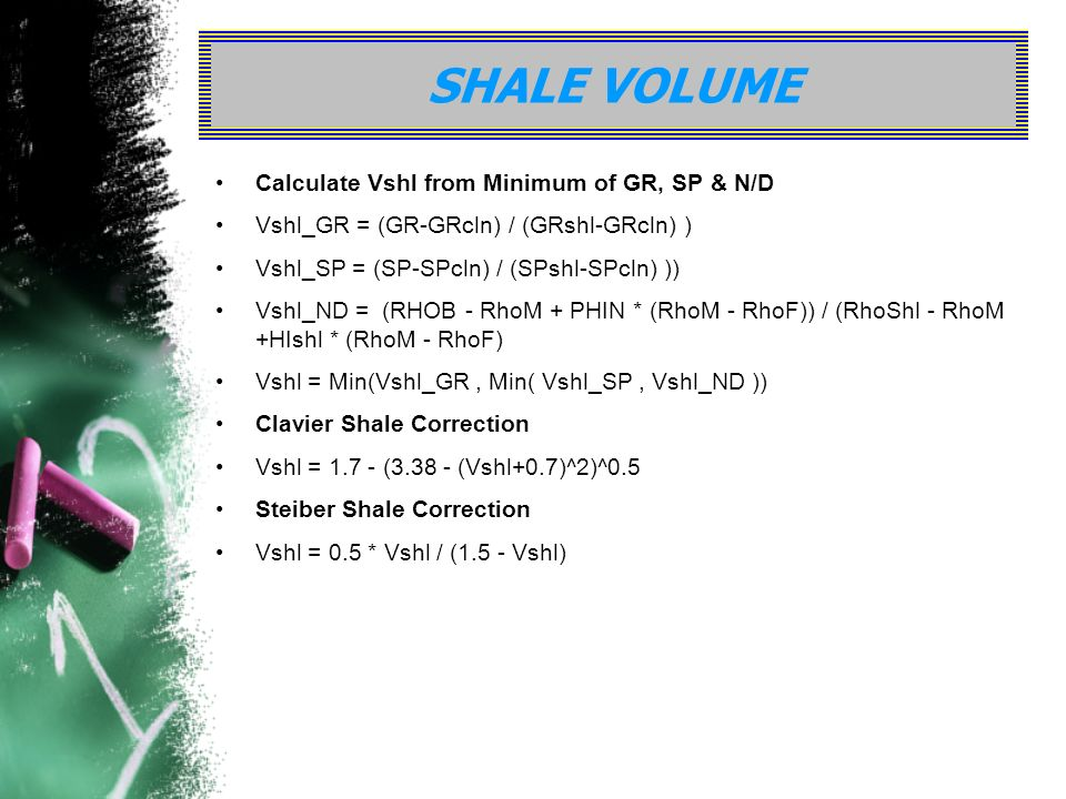 SHALE VOLUME Calculate Vshl from Minimum of GR, SP & N/D