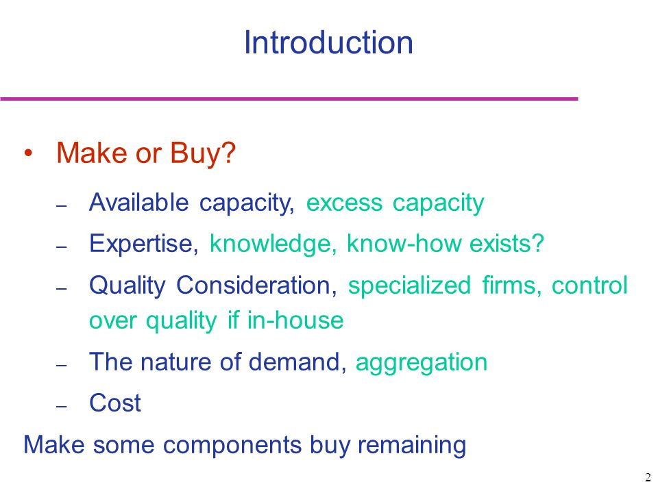 Introduction Make or Buy Available capacity, excess capacity