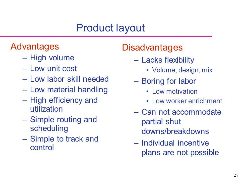 Product layout Advantages Disadvantages High volume Lacks flexibility