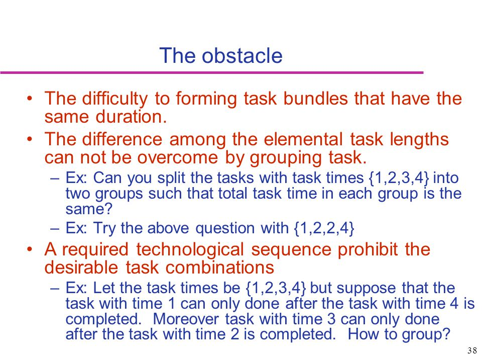 The obstacle The difficulty to forming task bundles that have the same duration.