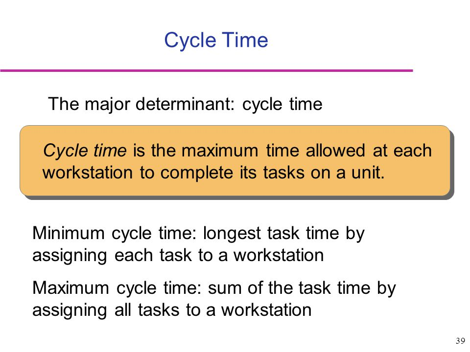 Cycle Time The major determinant: cycle time