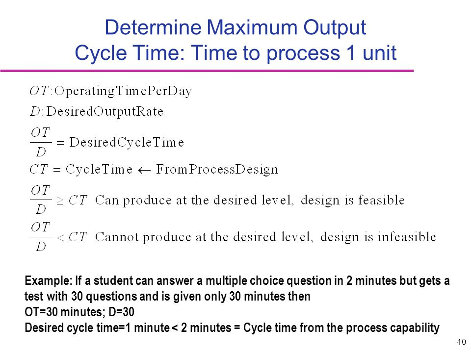 Determine Maximum Output Cycle Time: Time to process 1 unit