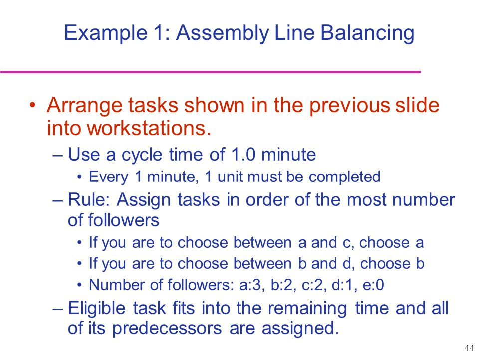 Example 1: Assembly Line Balancing