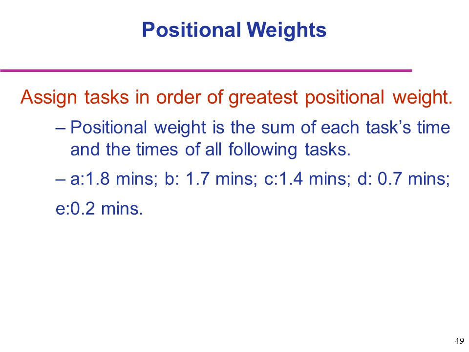 Positional Weights Assign tasks in order of greatest positional weight.