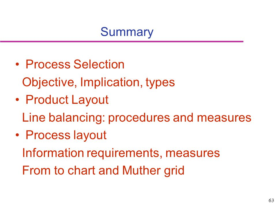 Summary Process Selection. Objective, Implication, types. Product Layout. Line balancing: procedures and measures.