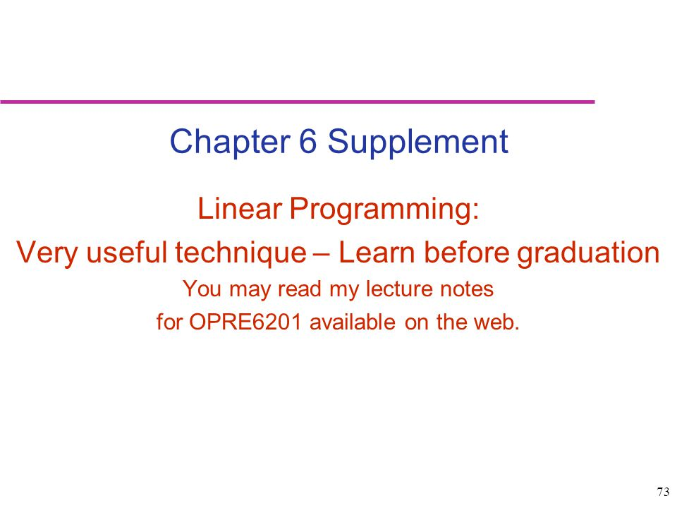 Chapter 6 Supplement Linear Programming: