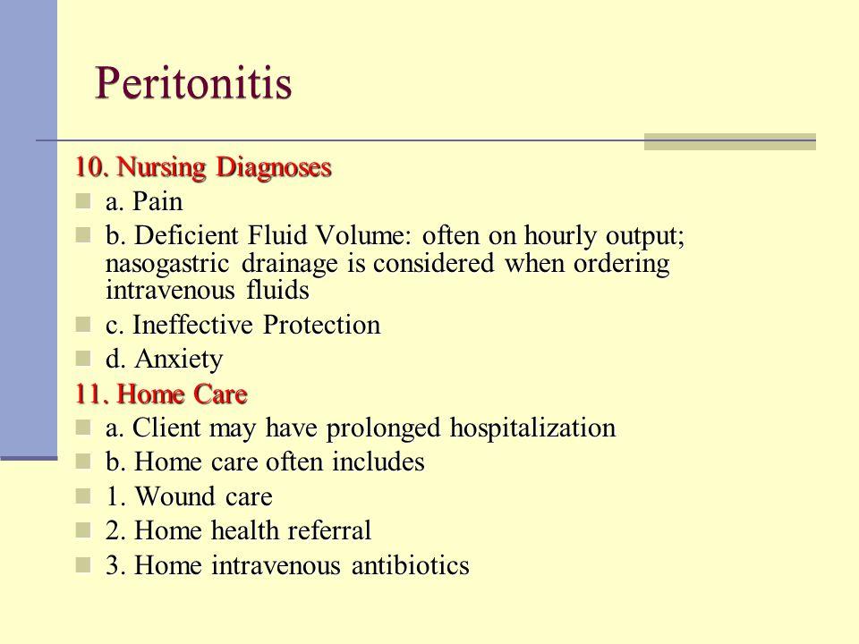 Peritonitis 10. Nursing Diagnoses a. Pain