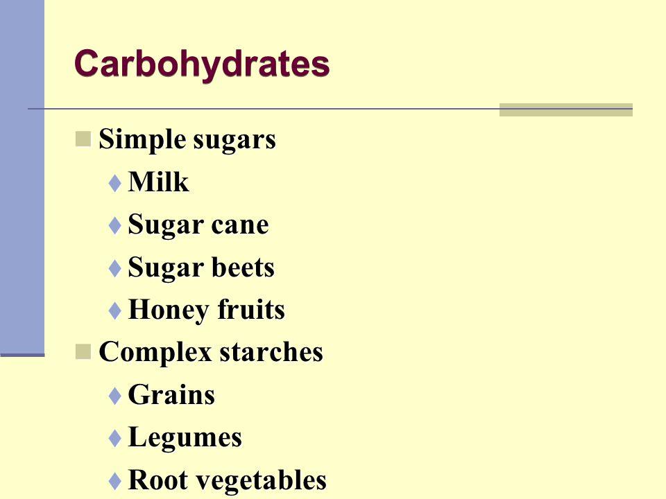 Carbohydrates Simple sugars Milk Sugar cane Sugar beets Honey fruits