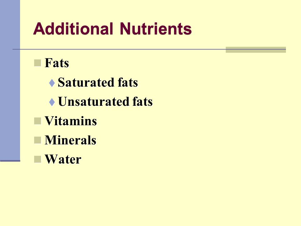 Additional Nutrients Fats Saturated fats Unsaturated fats Vitamins