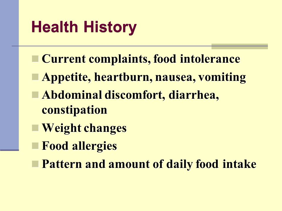 Health History Current complaints, food intolerance