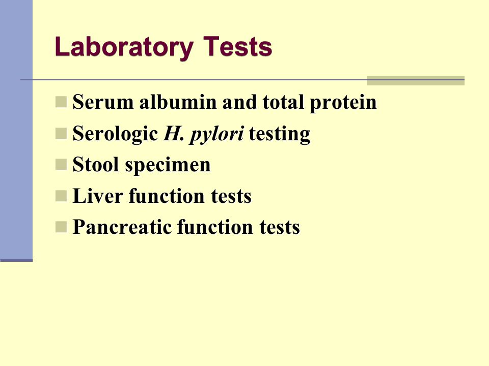 Laboratory Tests Serum albumin and total protein