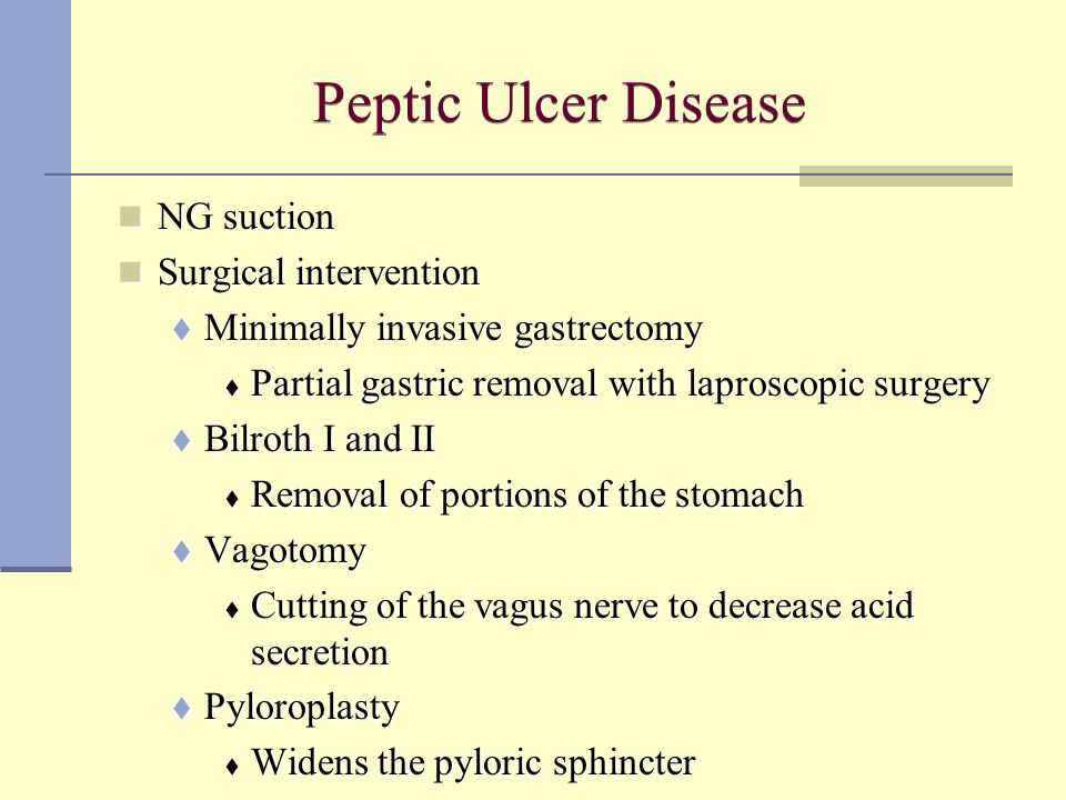 Peptic Ulcer Disease NG suction Surgical intervention