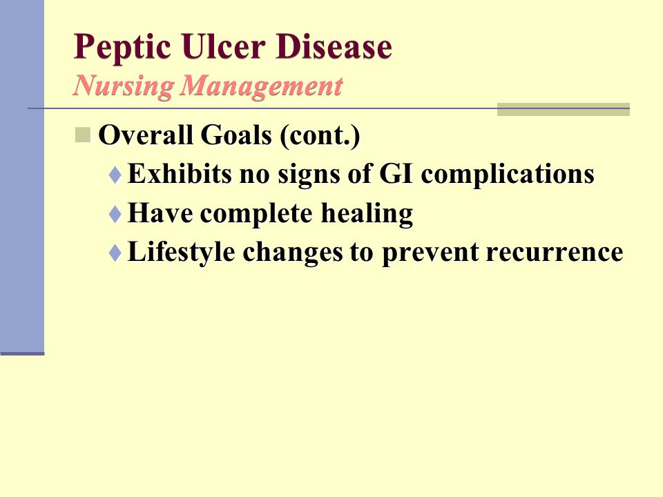 Peptic Ulcer Disease Nursing Management