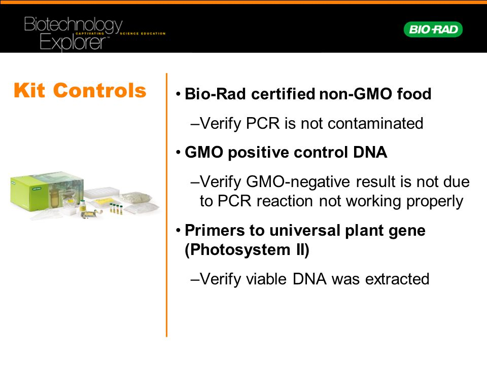 Kit Controls Bio-Rad certified non-GMO food