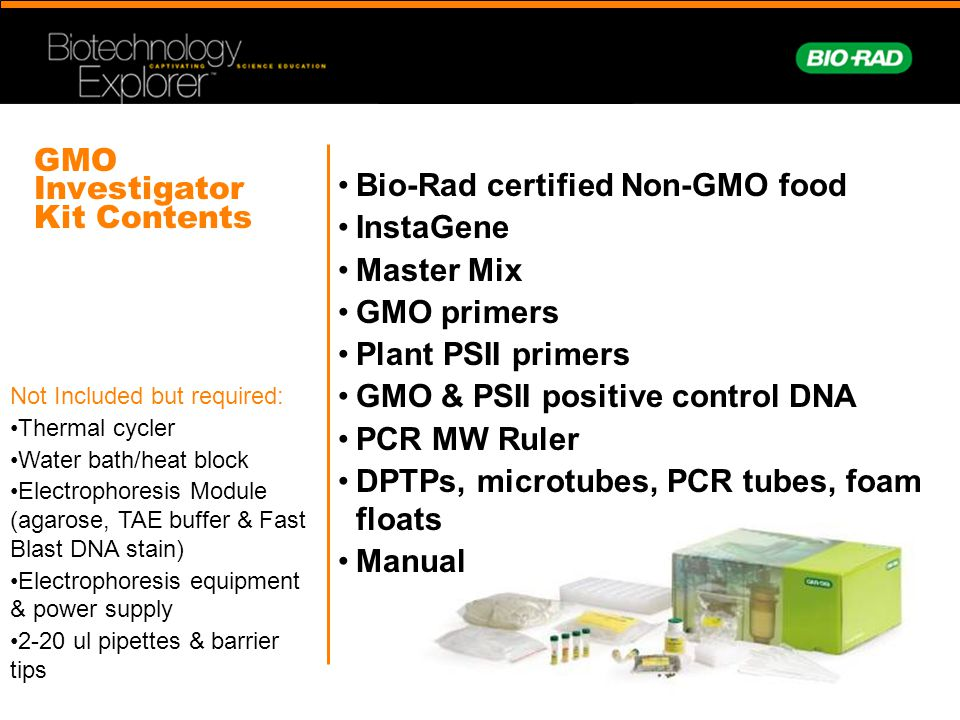 GMO Investigator Kit Contents