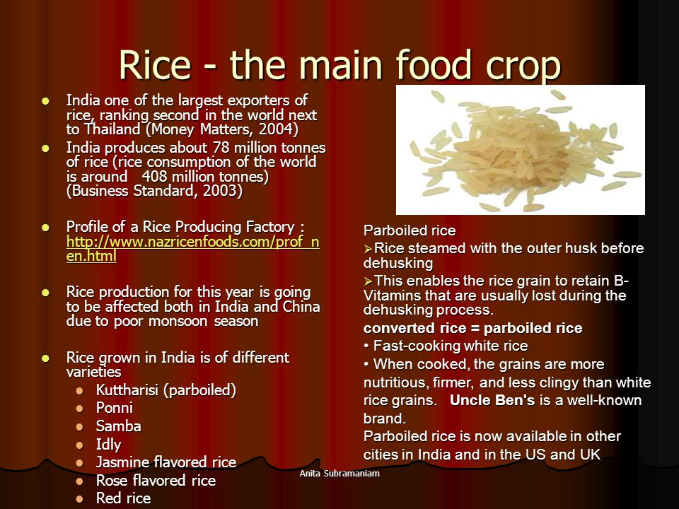 Rice - the main food crop