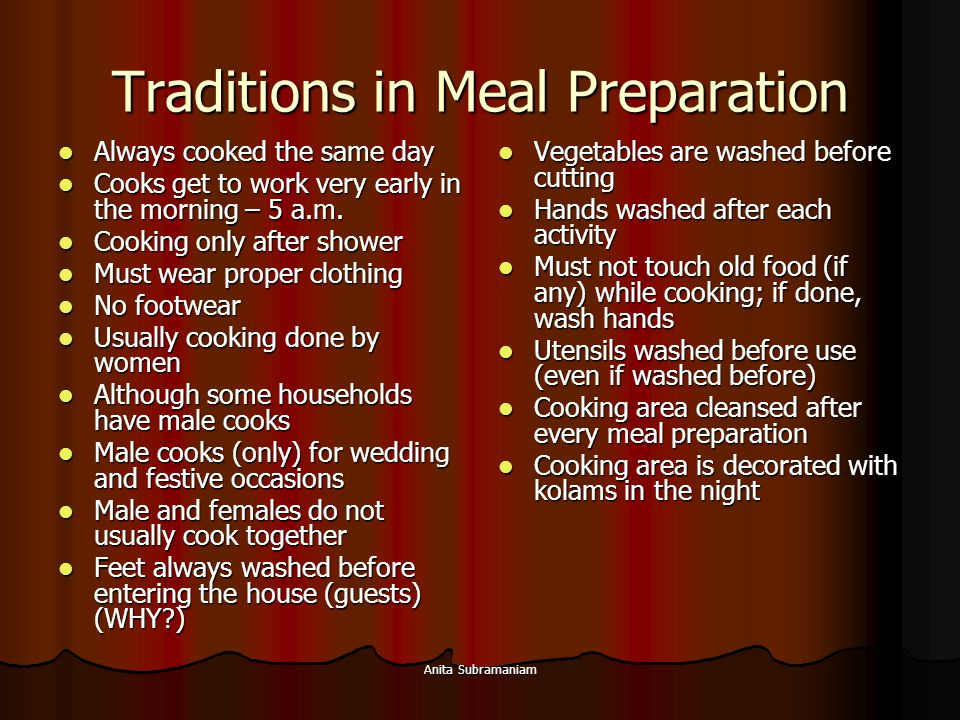 Traditions in Meal Preparation