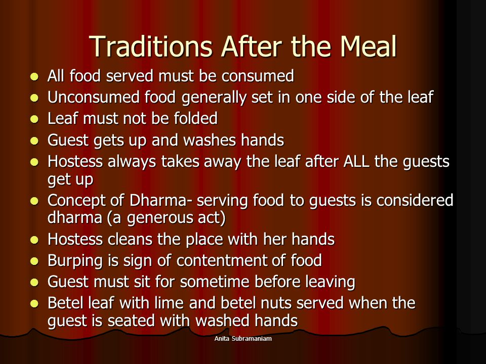 Traditions After the Meal