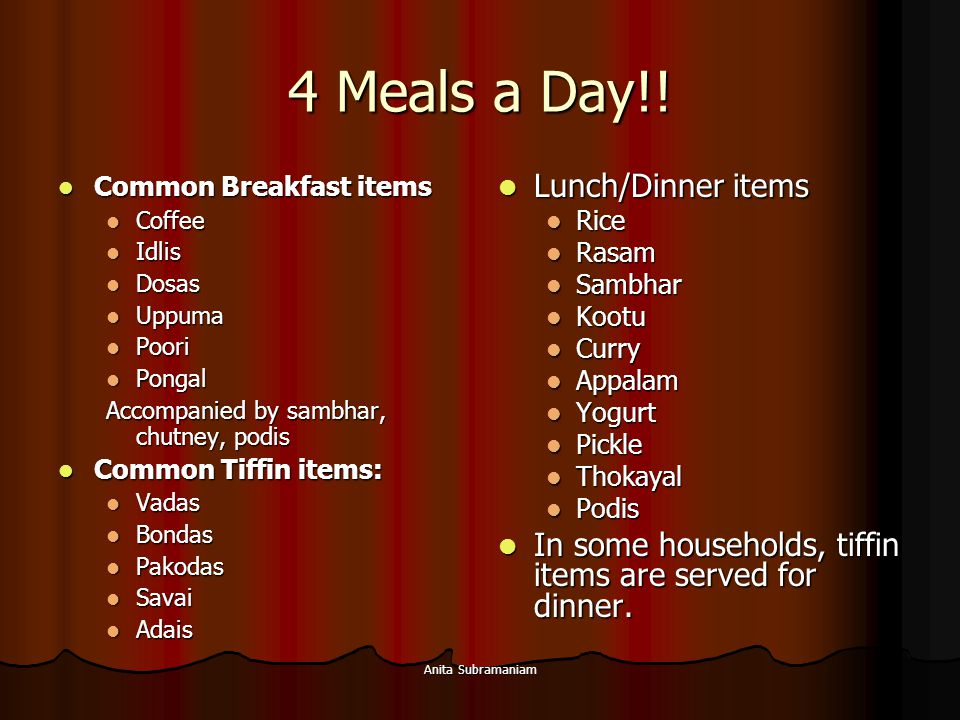 4 Meals a Day!! Lunch/Dinner items
