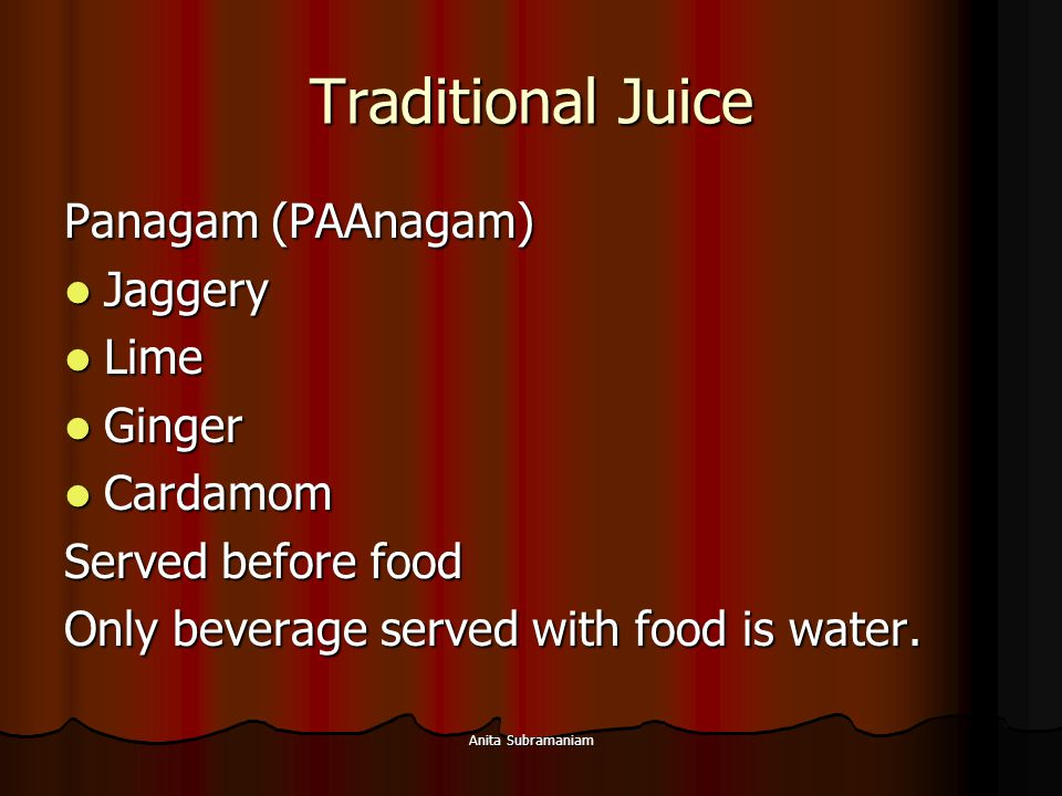 Traditional Juice Panagam (PAAnagam) Jaggery Lime Ginger Cardamom