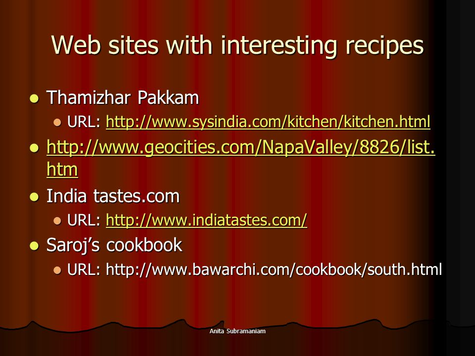 Web sites with interesting recipes