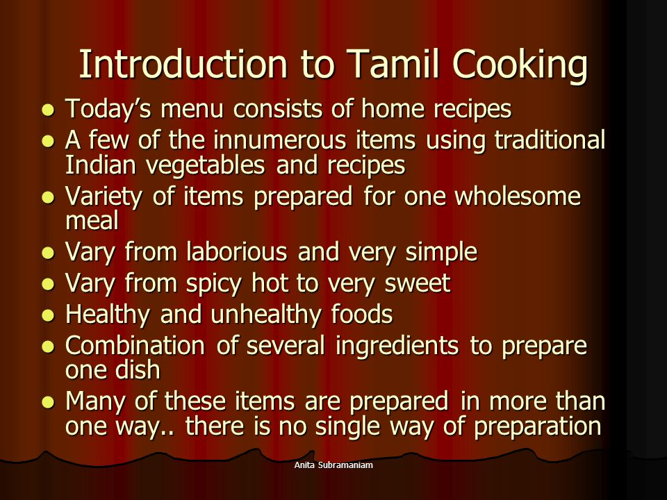 Introduction to Tamil Cooking