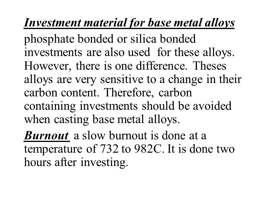 Investment material for base metal alloys