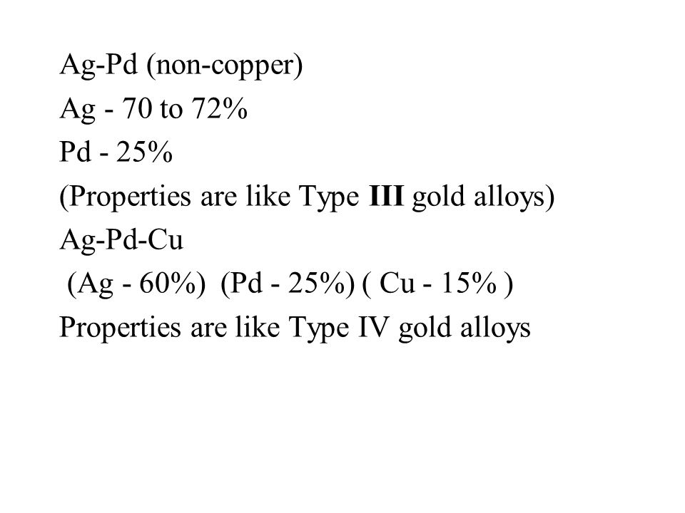 Ag-Pd (non-copper) Ag - 70 to 72% Pd - 25% (Properties are like Type III gold alloys) Ag-Pd-Cu. (Ag - 60%) (Pd - 25%) ( Cu - 15% )