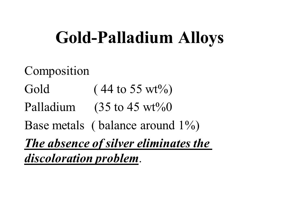 Gold-Palladium Alloys