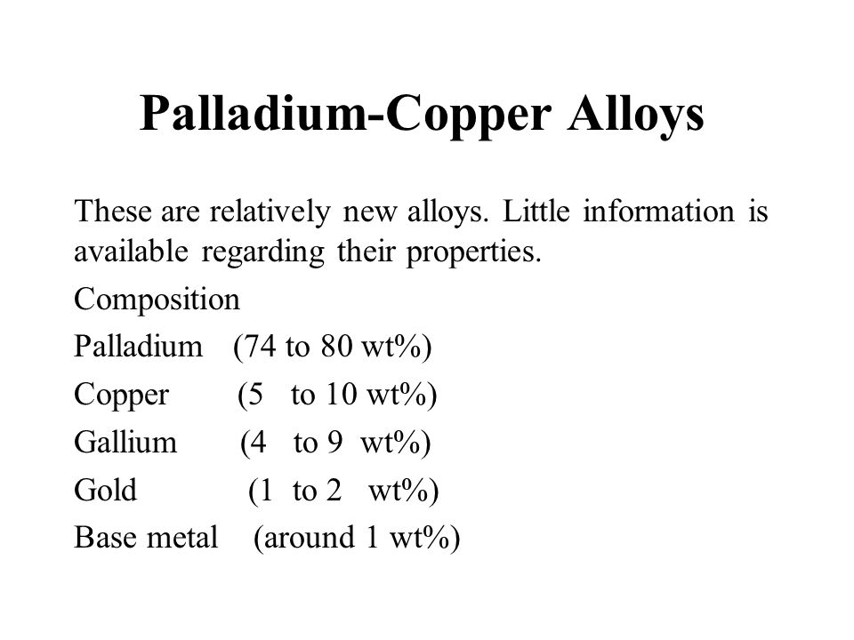 Palladium-Copper Alloys