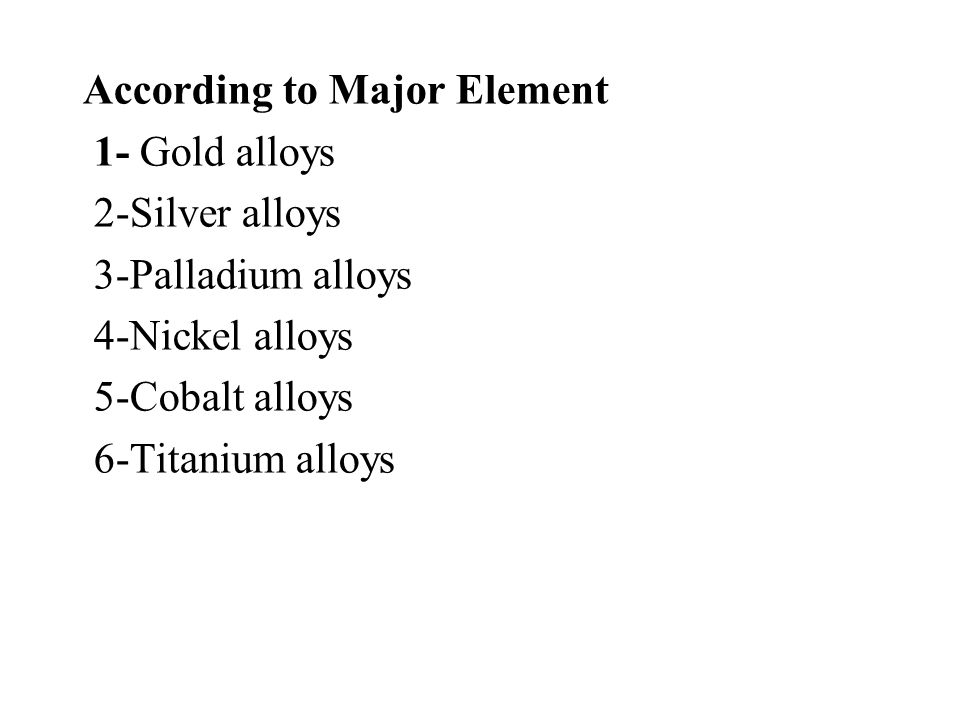 According to Major Element