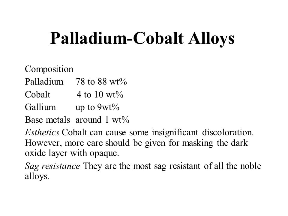 Palladium-Cobalt Alloys