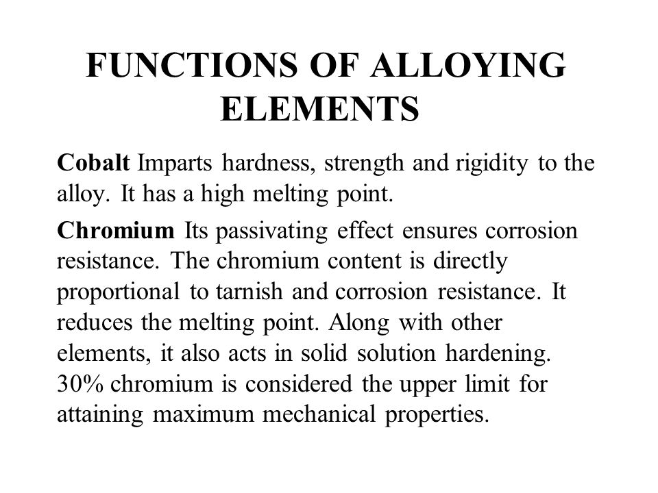 FUNCTIONS OF ALLOYING ELEMENTS