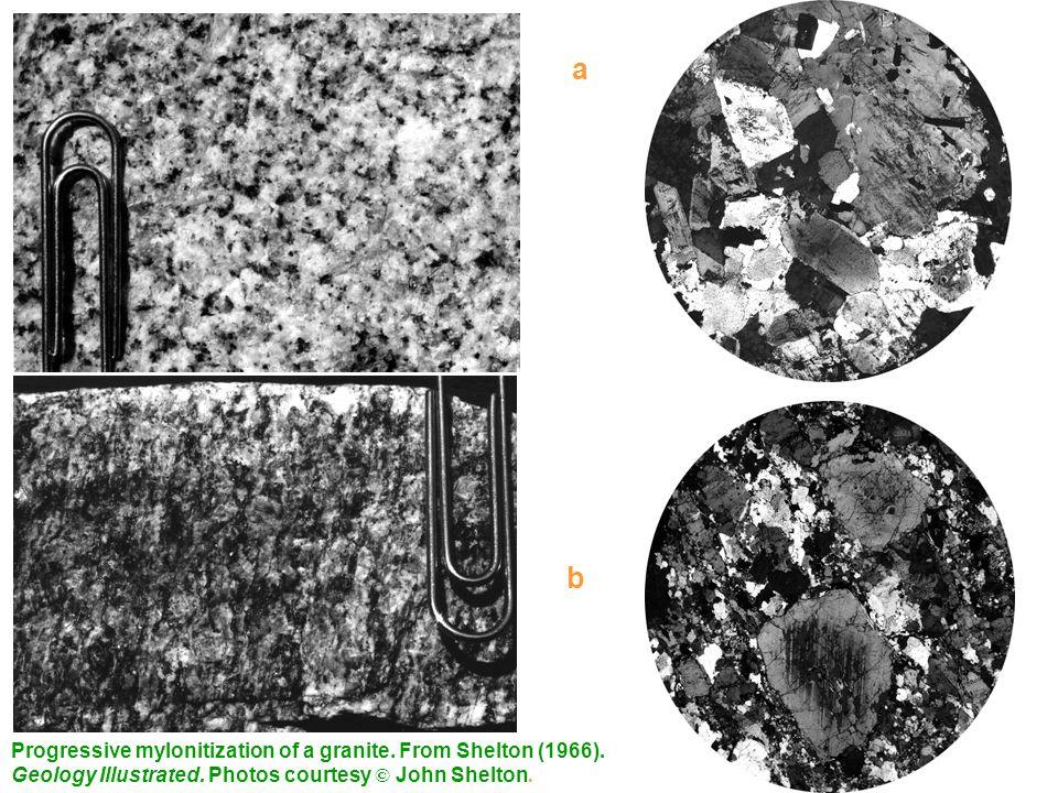 a Progressive mylonitization of a granite, San Gabriel Mts, California. Excellent mortar in (b) b.