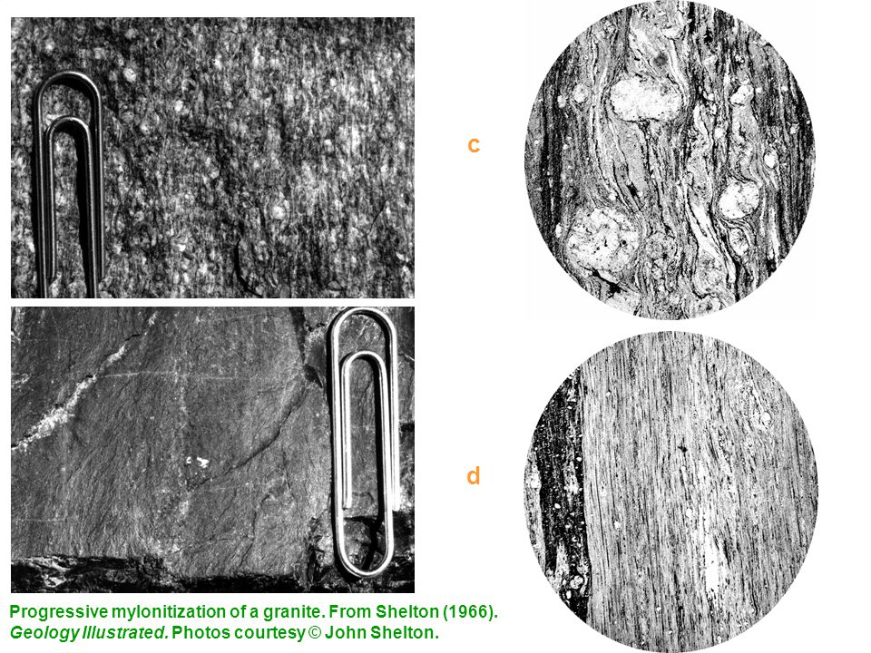 c Grain-size reduction. Increased foliation. Ribbon texture is forming in both. (d) is a classic ultramylonite.
