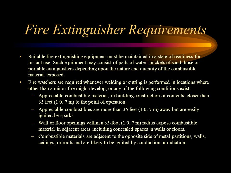 Fire Extinguisher Requirements