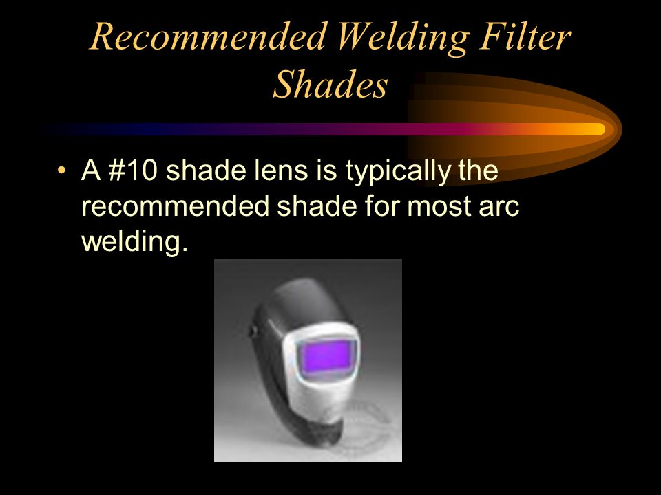 Recommended Welding Filter Shades