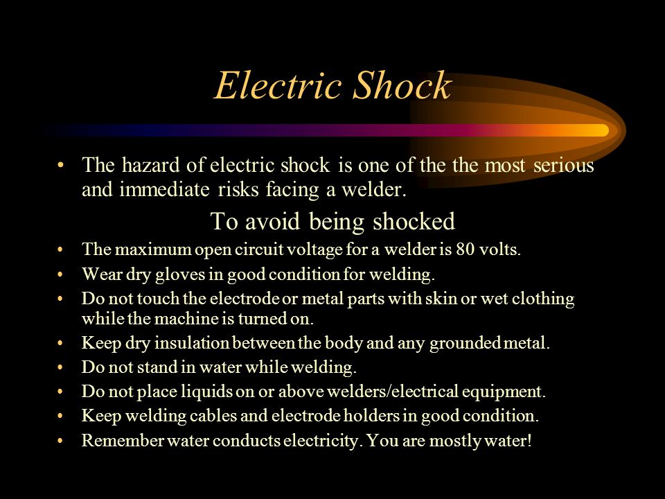 Electric Shock To avoid being shocked