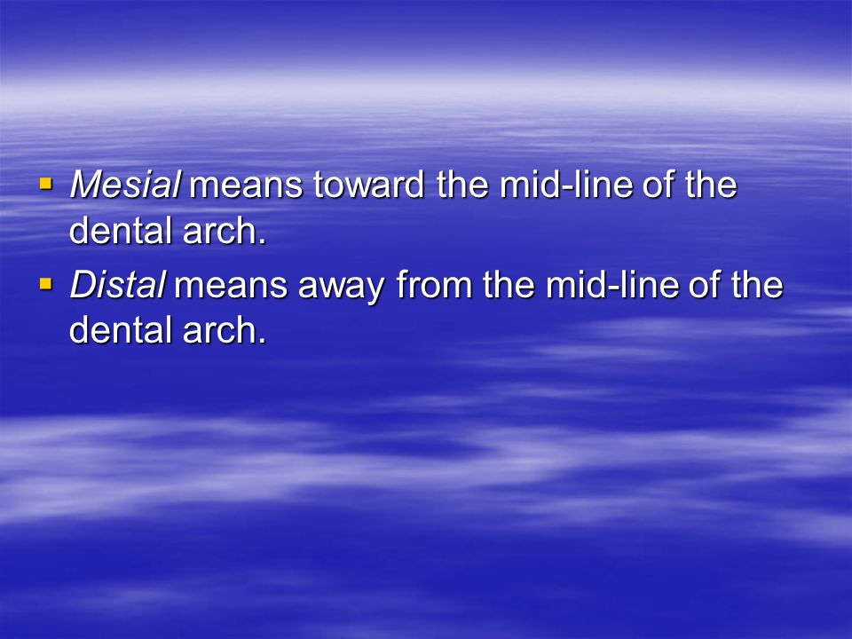 Mesial means toward the mid-line of the dental arch.