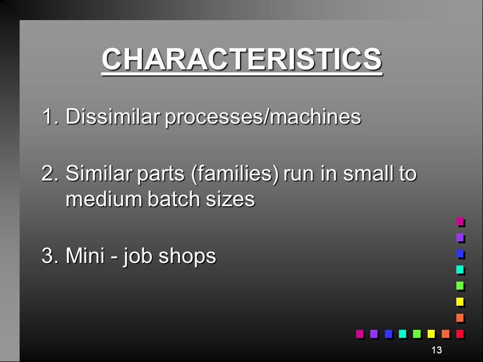 CHARACTERISTICS 1. Dissimilar processes/machines