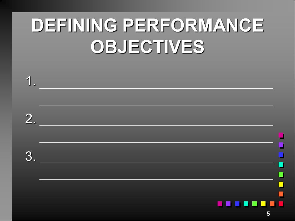 DEFINING PERFORMANCE OBJECTIVES