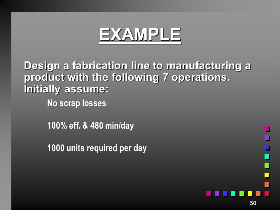 EXAMPLE Design a fabrication line to manufacturing a product with the following 7 operations. Initially assume: