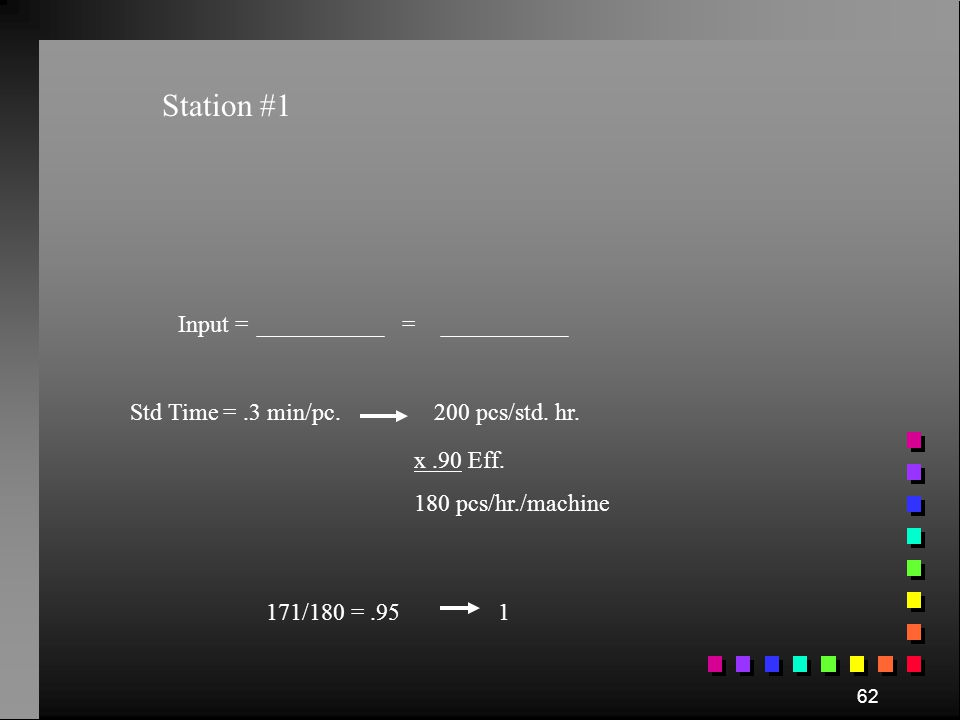 Station #1 Input = = Std Time = .3 min/pc. 200 pcs/std. hr. x .90 Eff.