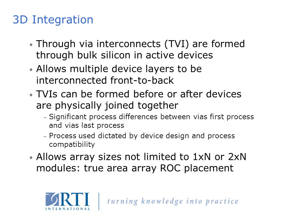 3D Integration Through via interconnects (TVI) are formed through bulk silicon in active devices.