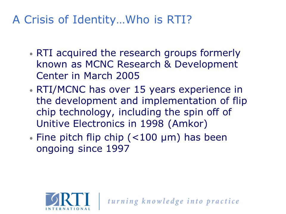 A Crisis of Identity…Who is RTI